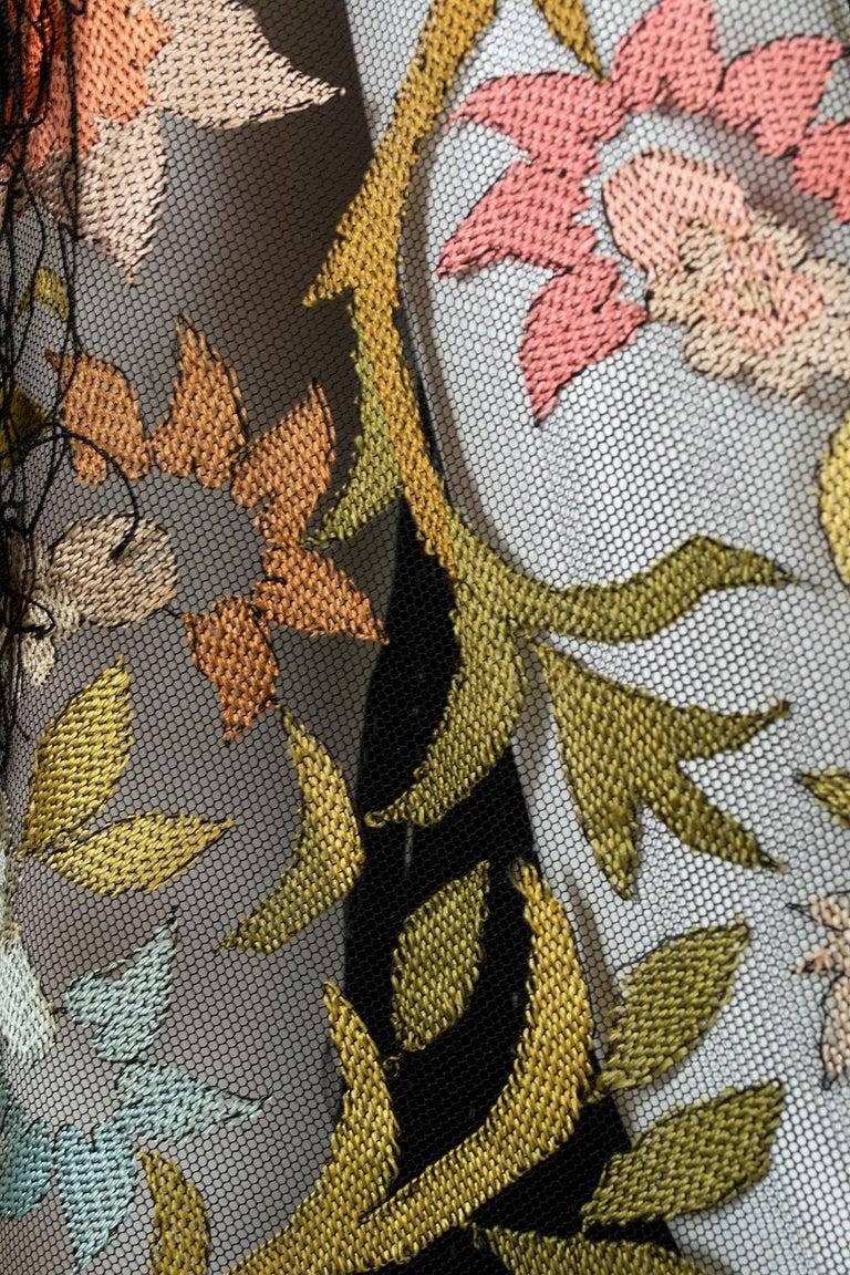 Haute Couture Embroidered Silk Mantilla – Garros Estate, 1900s For Sale 4