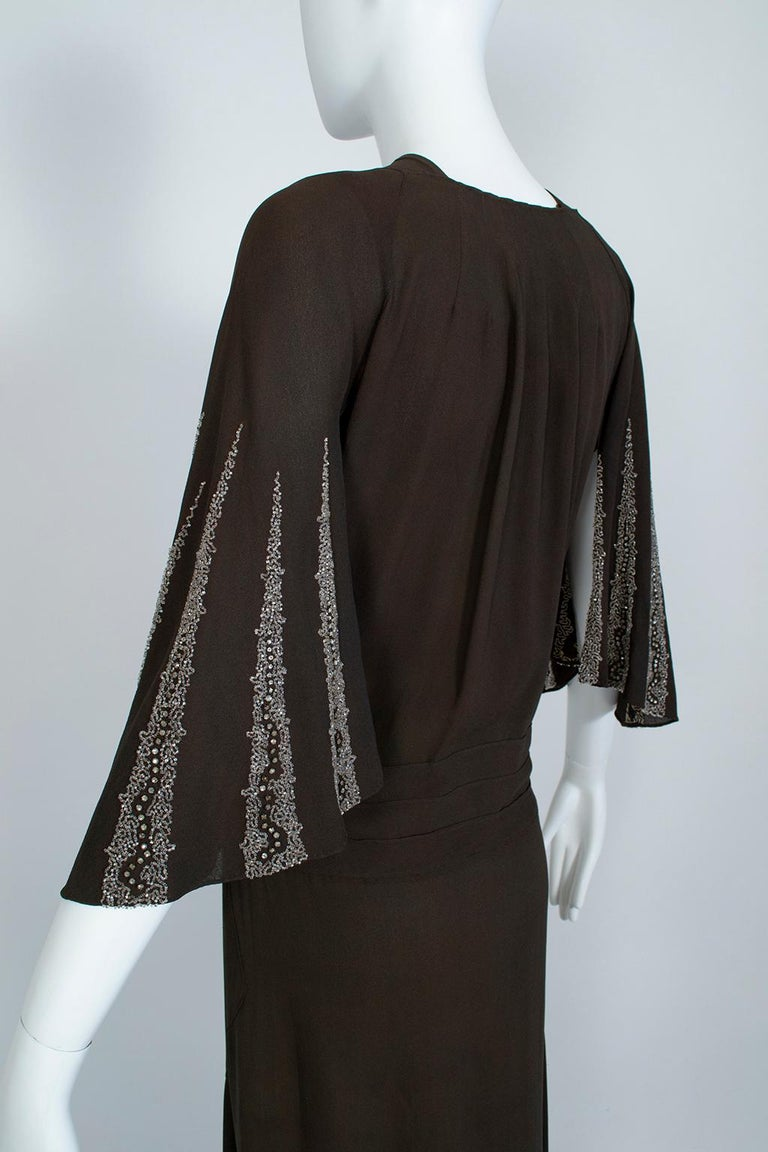 Brown Regency Silk Crêpe Kimono Gown with Crystal Batwing Sleeves - Med, 1930s For Sale 1