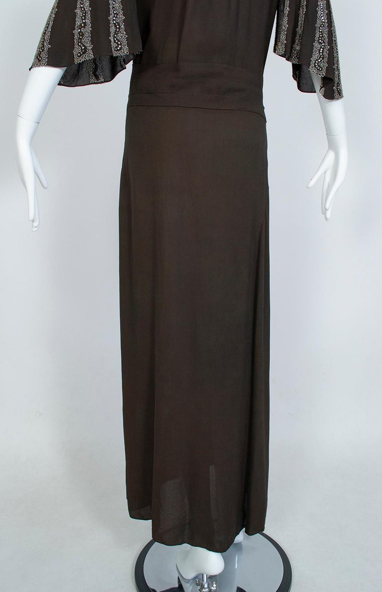 Brown Regency Silk Crêpe Kimono Gown with Crystal Batwing Sleeves - Med, 1930s For Sale 3