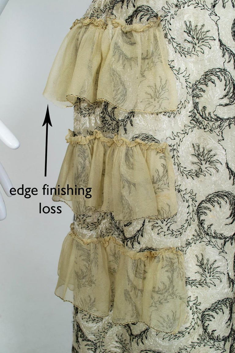 Edwardian Chiffon Robe de Style with Scrolling Embroidery, 1910s For Sale 13