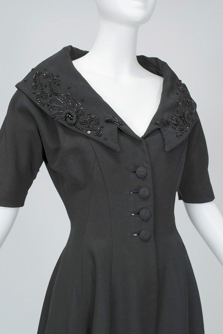 New Look Black Heavyweight Faille Beaded Portrait Collar Coat Dress - S, 1950s For Sale 1