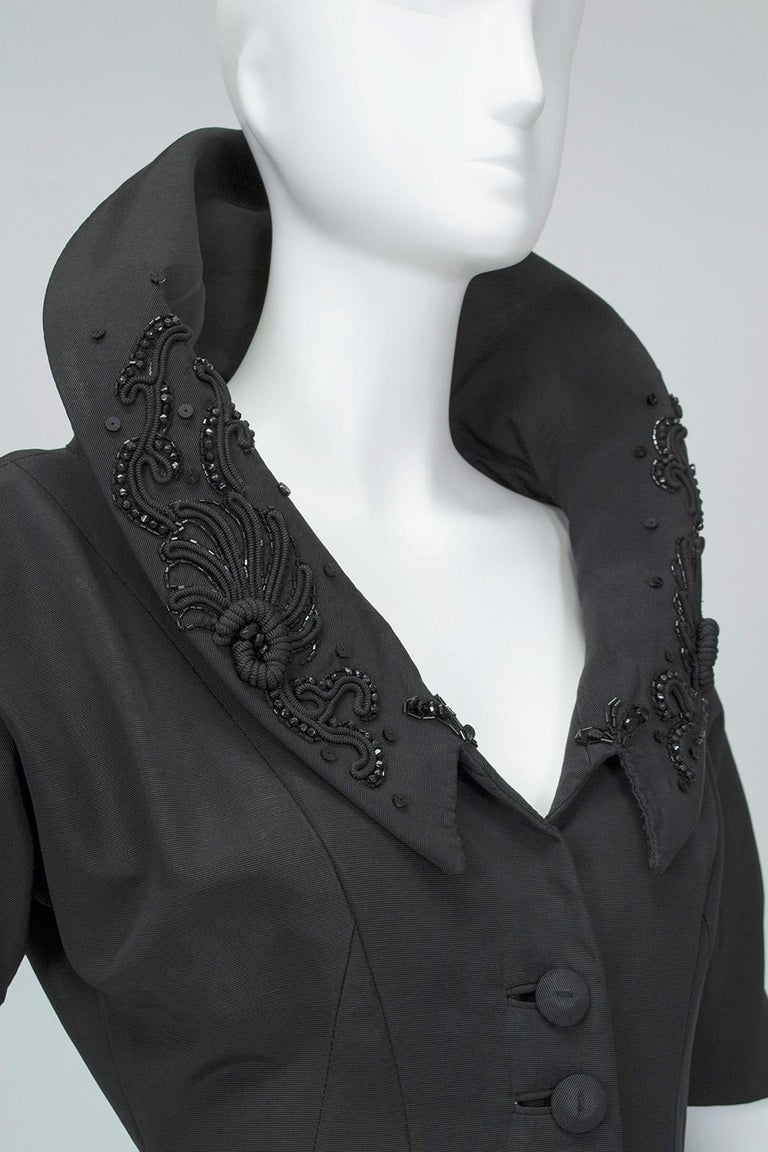 New Look Black Heavyweight Faille Beaded Portrait Collar Coat Dress - S, 1950s For Sale 5