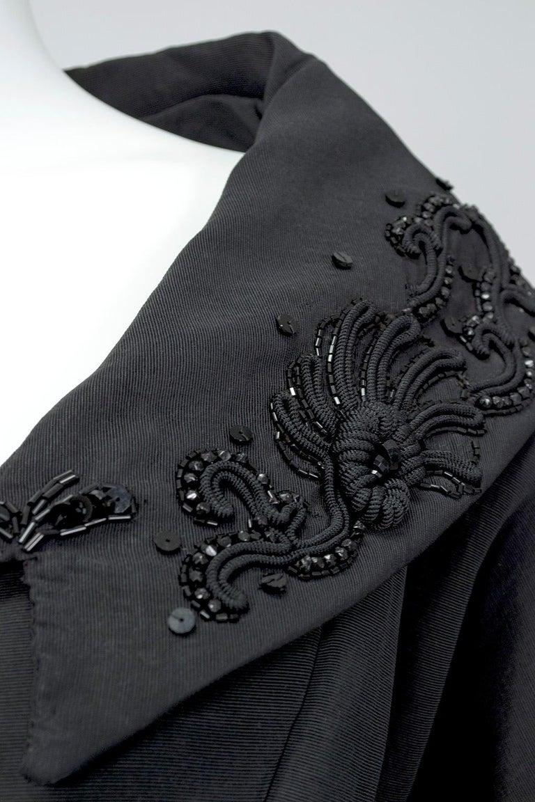 New Look Black Heavyweight Faille Beaded Portrait Collar Coat Dress - S, 1950s For Sale 6