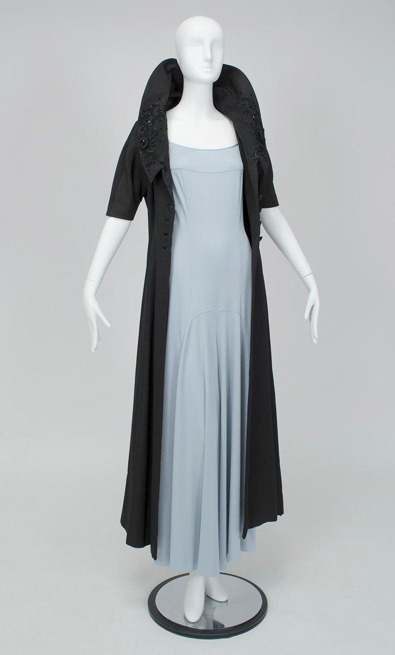 New Look Black Heavyweight Faille Beaded Portrait Collar Coat Dress - S, 1950s For Sale 7