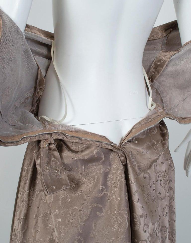 Off-Shoulder Cutaway Front Jacquard Party Dress, 1950s For Sale 7