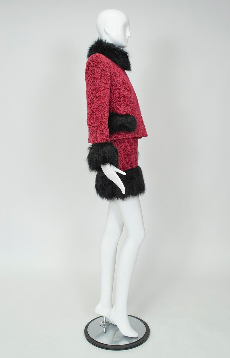 Red Chanel Faux Fur Runway Suit as Worn by Helena Christiansen, 1994 For Sale