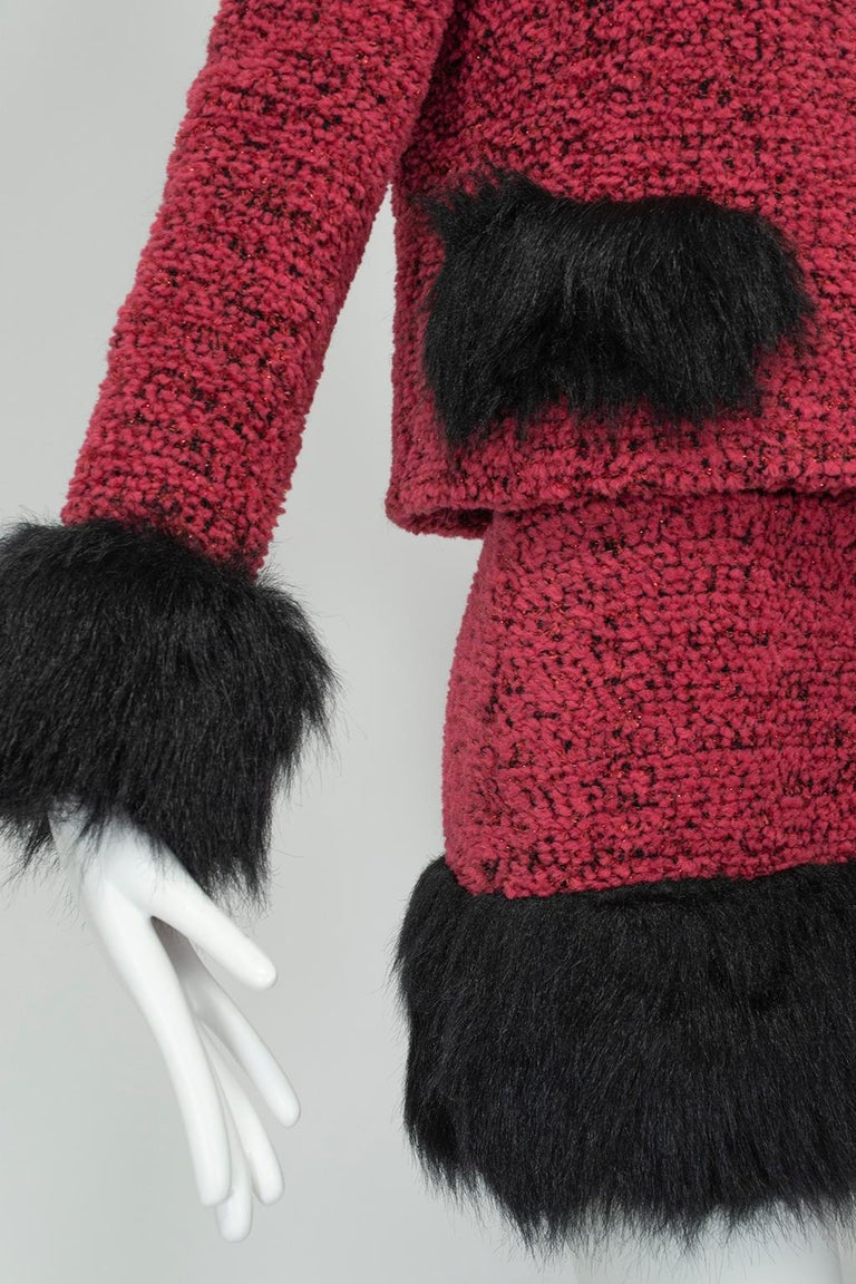 Chanel Faux Fur Runway Suit as Worn by Helena Christiansen, 1994 For Sale 5