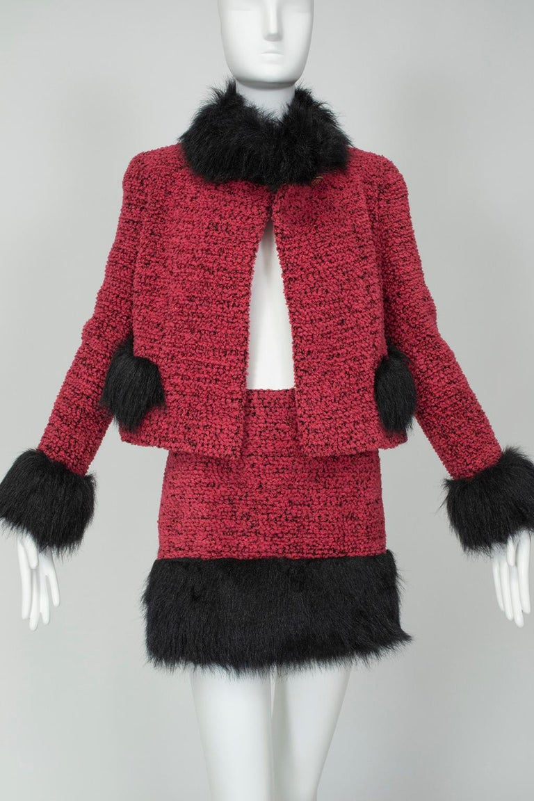 Chanel Faux Fur Runway Suit as Worn by Helena Christiansen, 1994 For Sale 2