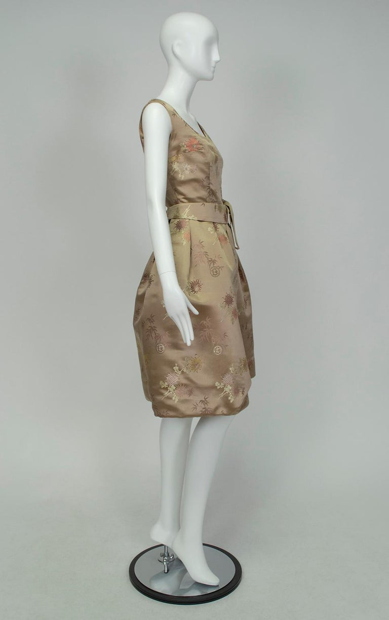 Brown Jacques Cassia Haute Couture Taupe Brocade Corolle Tulip Skirt Dress - S, 1960s For Sale