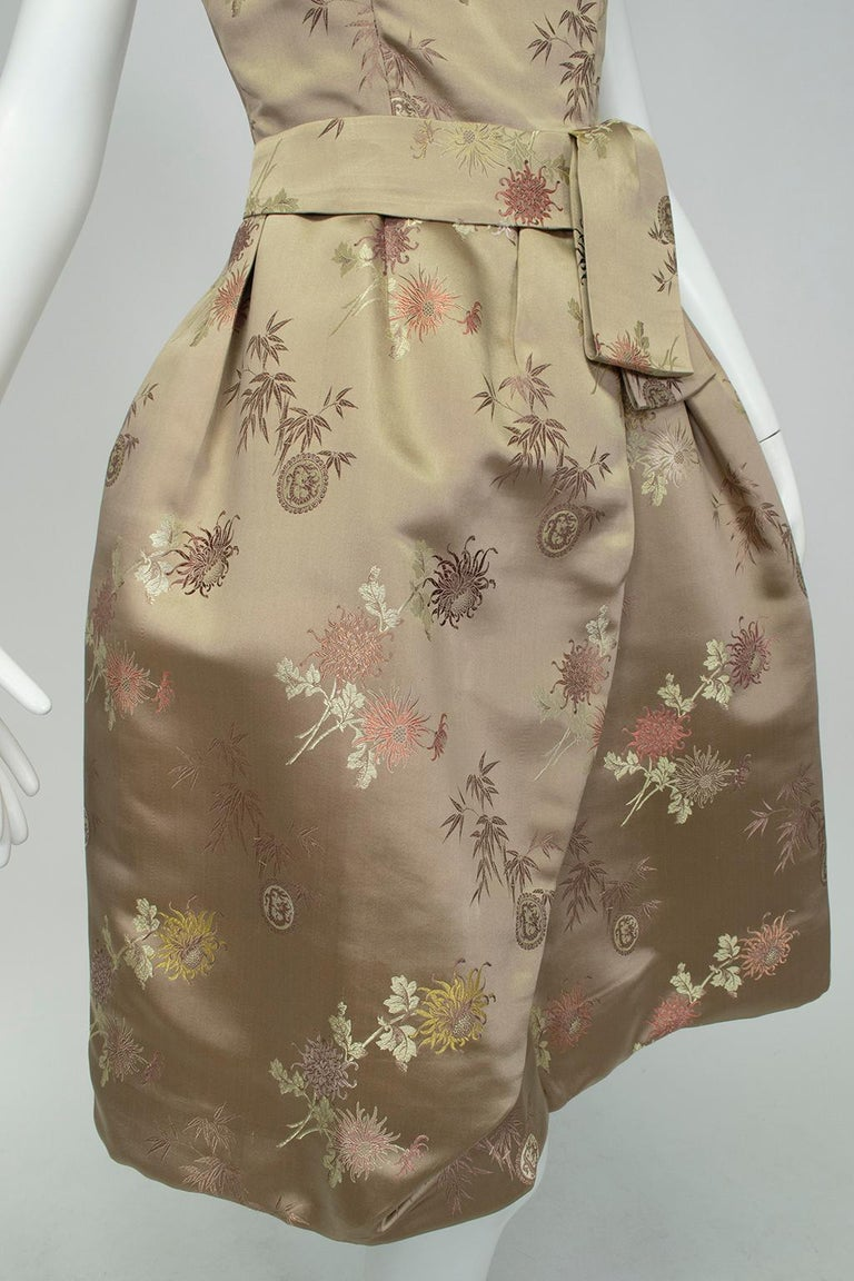 Jacques Cassia Haute Couture Taupe Brocade Corolle Tulip Skirt Dress - S, 1960s For Sale 4