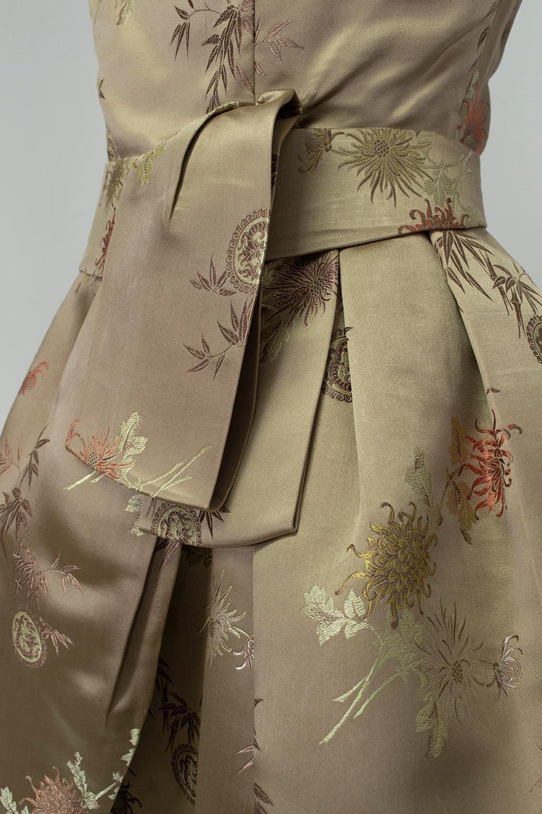 Jacques Cassia Haute Couture Taupe Brocade Corolle Tulip Skirt Dress - S, 1960s For Sale 7