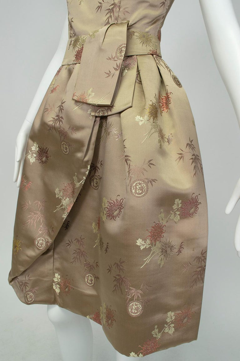 Jacques Cassia Haute Couture Taupe Brocade Corolle Tulip Skirt Dress - S, 1960s For Sale 5