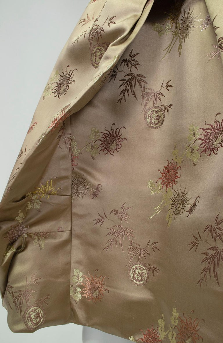 Jacques Cassia Haute Couture Taupe Brocade Corolle Tulip Skirt Dress - S, 1960s For Sale 9