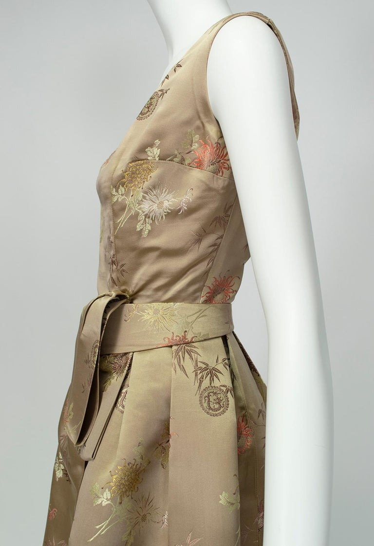 Jacques Cassia Haute Couture Taupe Brocade Corolle Tulip Skirt Dress - S, 1960s For Sale 2
