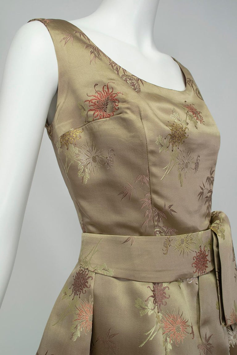 Jacques Cassia Haute Couture Taupe Brocade Corolle Tulip Skirt Dress - S, 1960s For Sale 1