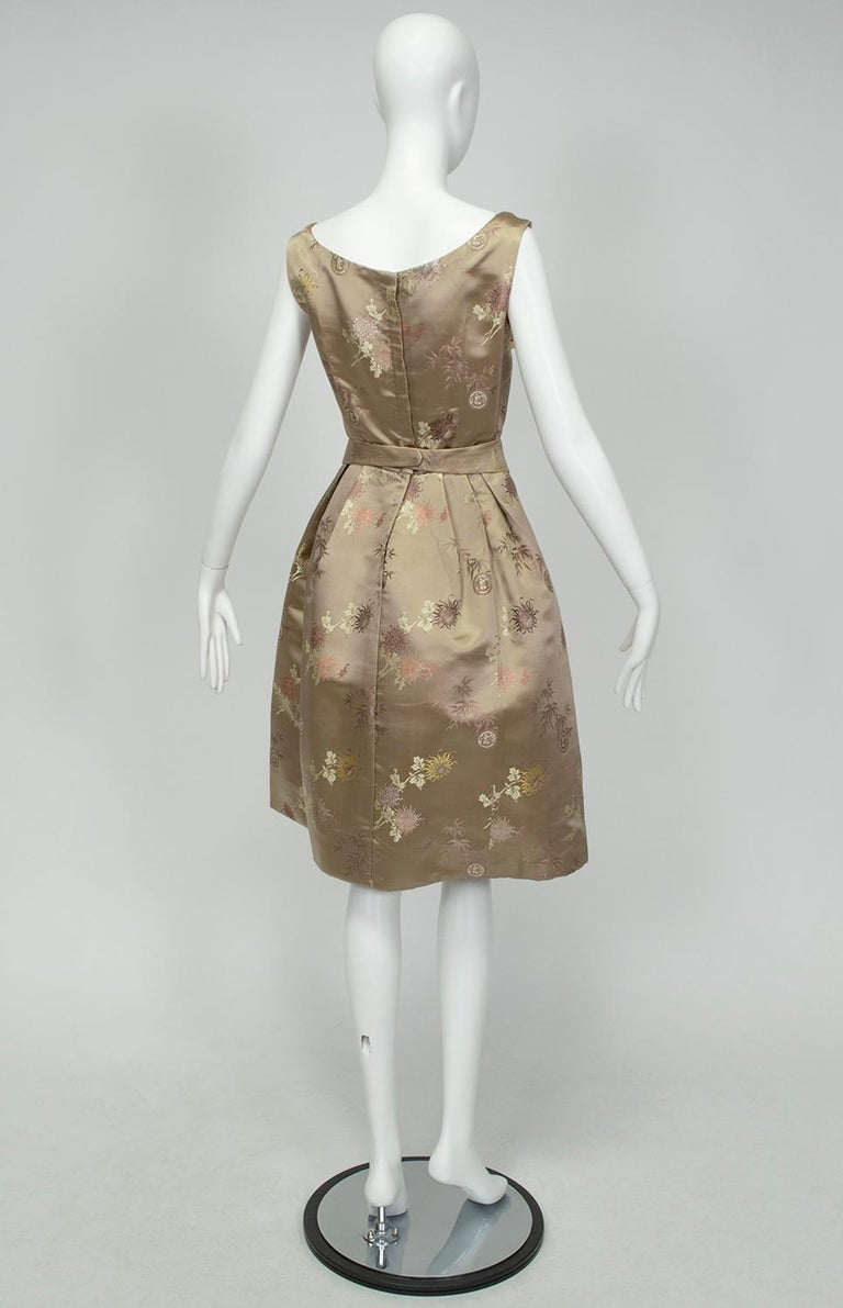 Jacques Cassia Haute Couture Taupe Brocade Corolle Tulip Skirt Dress - S, 1960s In Good Condition For Sale In Tucson, AZ