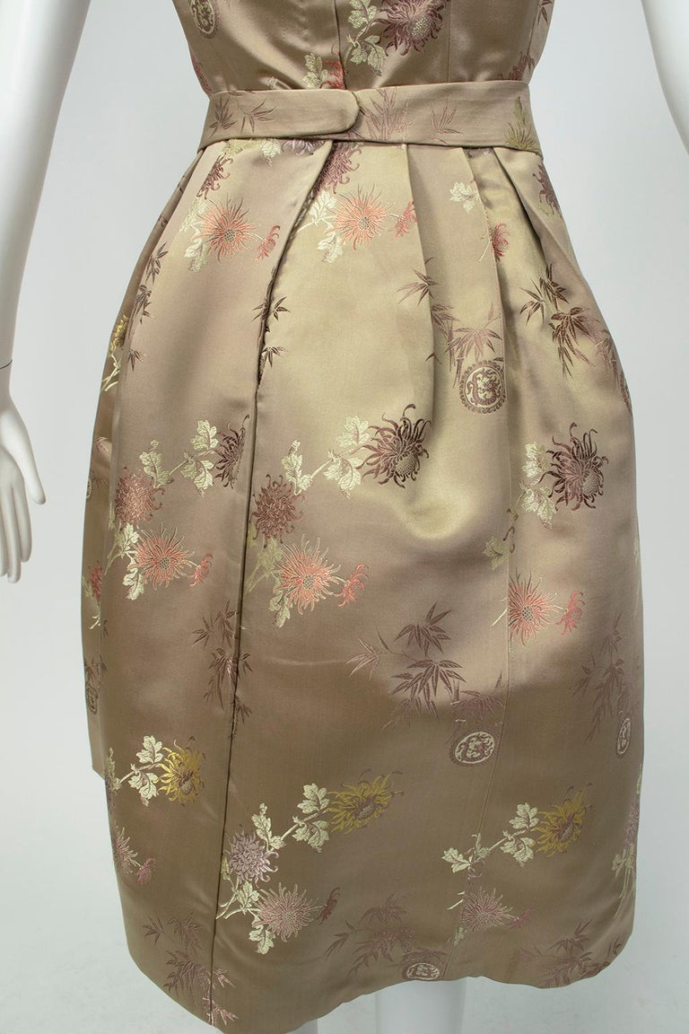 Jacques Cassia Haute Couture Taupe Brocade Corolle Tulip Skirt Dress - S, 1960s For Sale 6