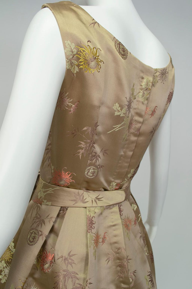 Jacques Cassia Haute Couture Taupe Brocade Corolle Tulip Skirt Dress - S, 1960s For Sale 3