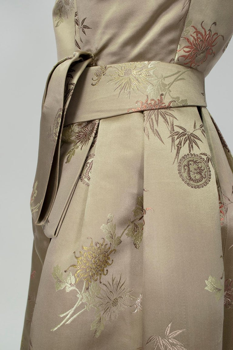 Jacques Cassia Haute Couture Taupe Brocade Corolle Tulip Skirt Dress - S, 1960s For Sale 8