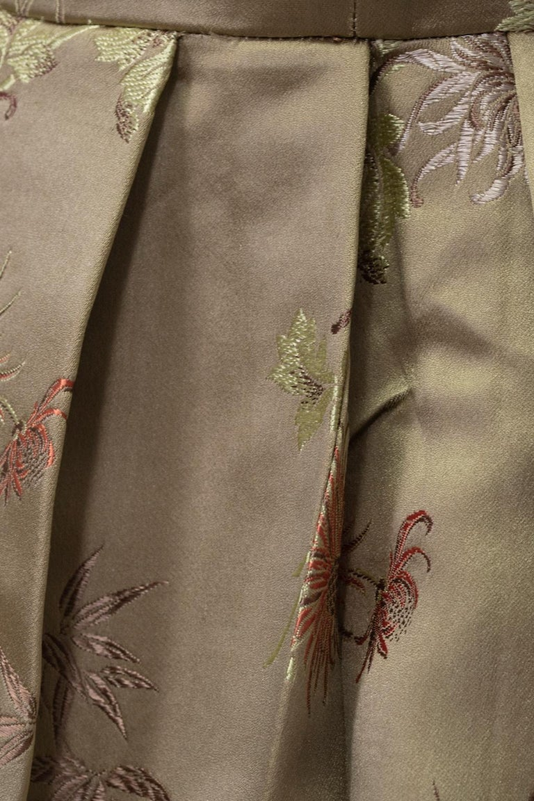 Jacques Cassia Haute Couture Taupe Brocade Corolle Tulip Skirt Dress - S, 1960s For Sale 10