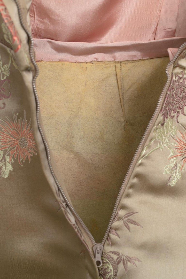 Jacques Cassia Haute Couture Taupe Brocade Corolle Tulip Skirt Dress - S, 1960s For Sale 11