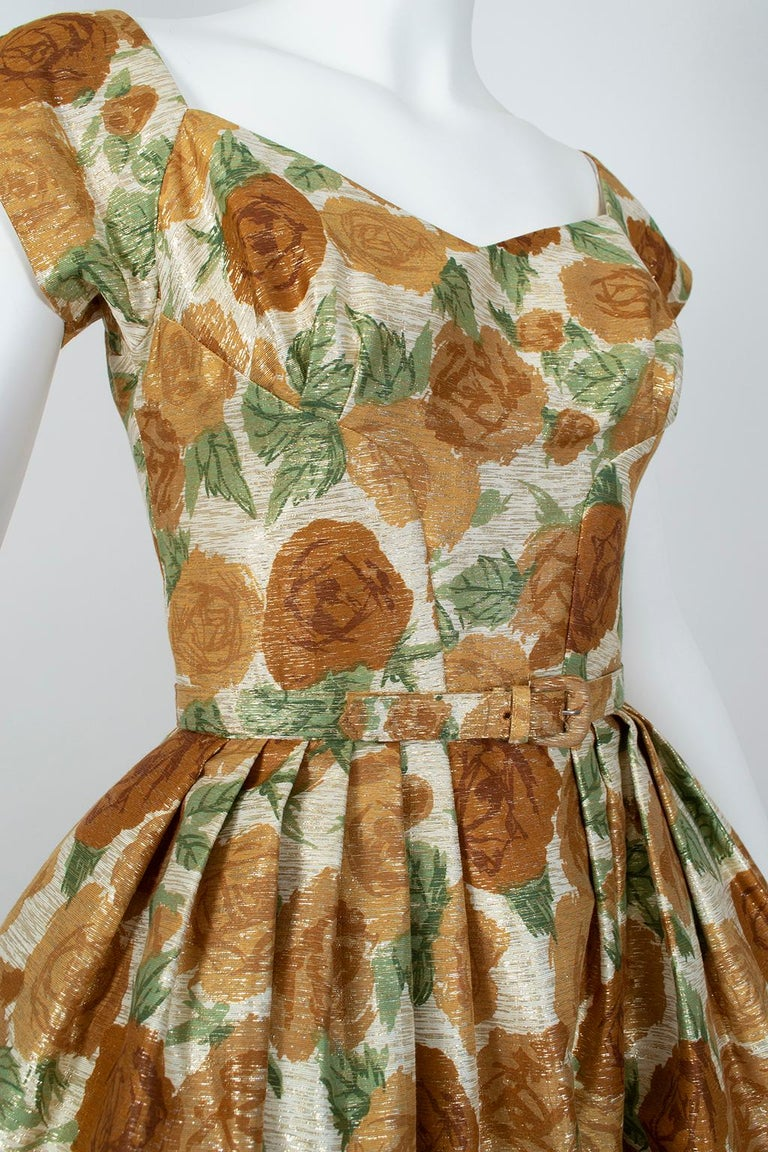 New Look Gold Floral Lampshade Party Dress, 1950s In Excellent Condition For Sale In Phoenix, AZ