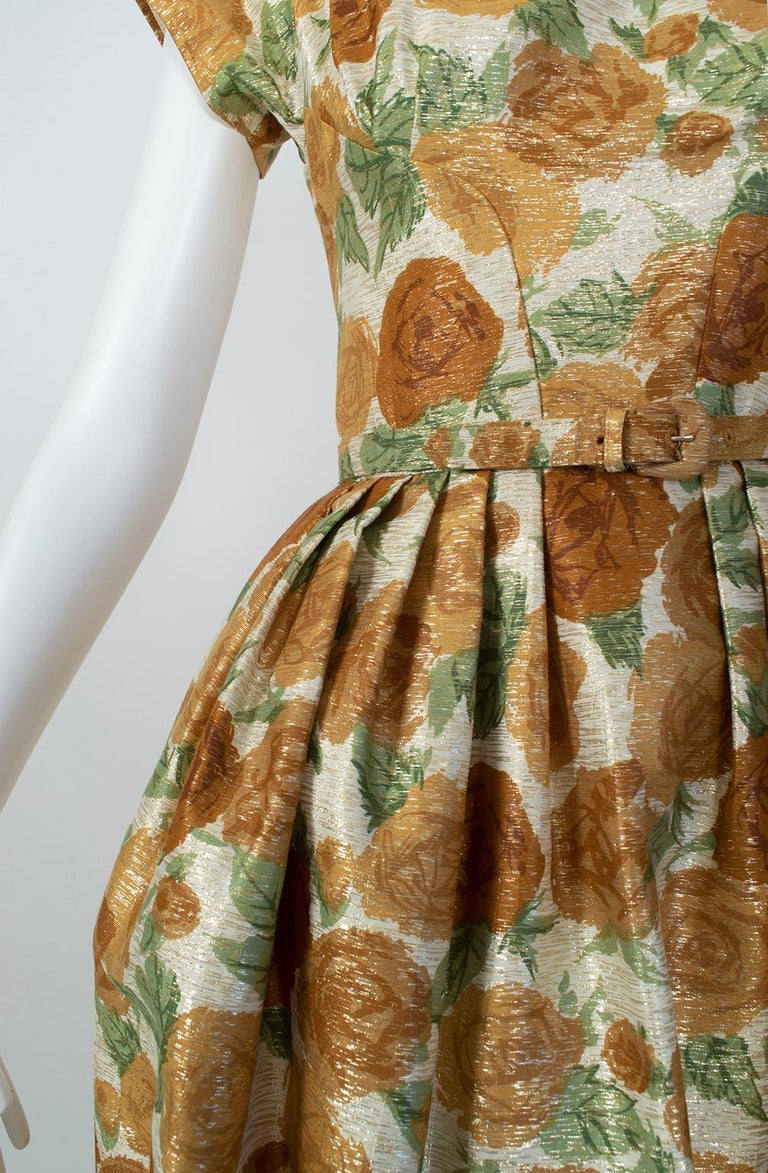 New Look Gold Floral Lampshade Party Dress, 1950s For Sale 6