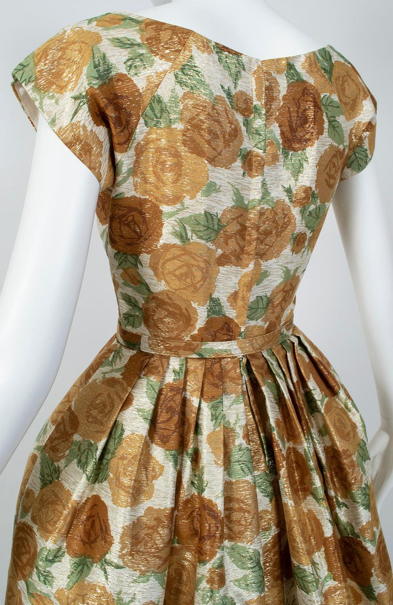 New Look Gold Floral Lampshade Party Dress, 1950s For Sale 1