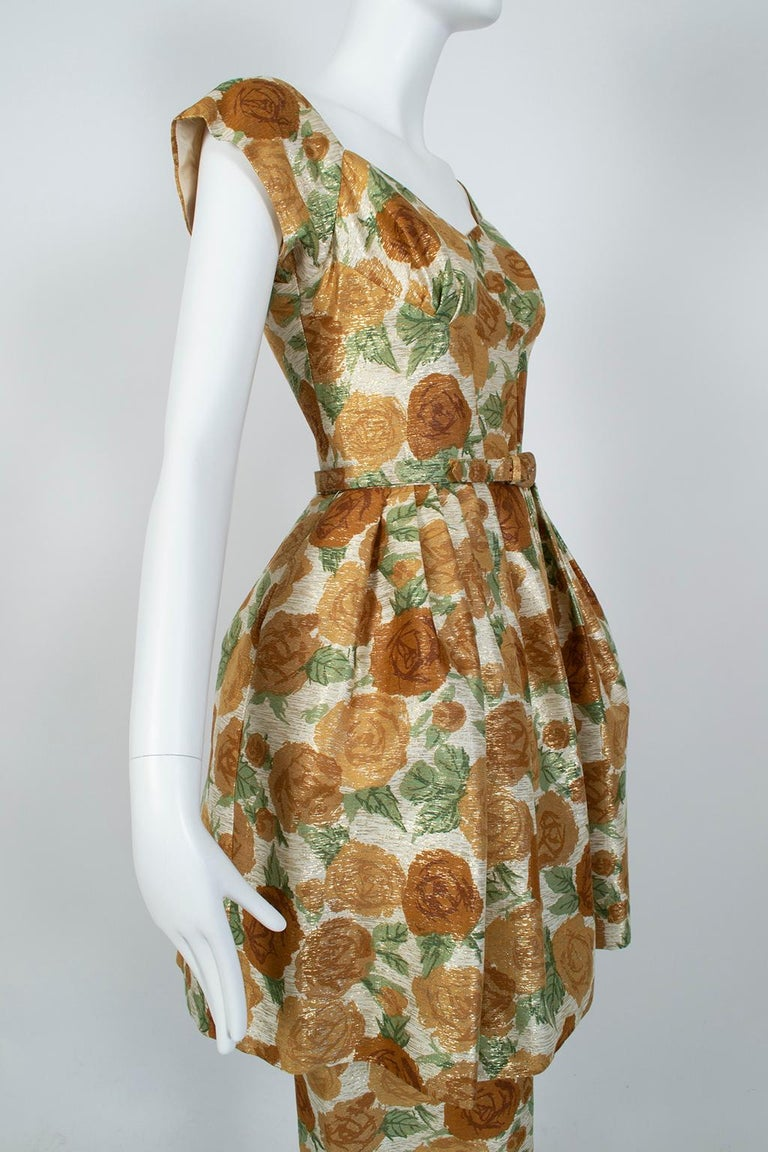Women's New Look Gold Floral Lampshade Party Dress, 1950s For Sale