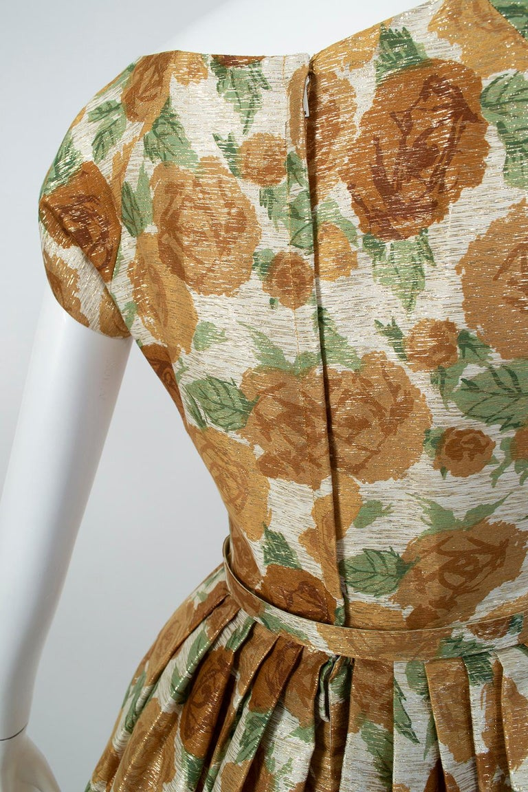 New Look Gold Floral Lampshade Party Dress, 1950s For Sale 2