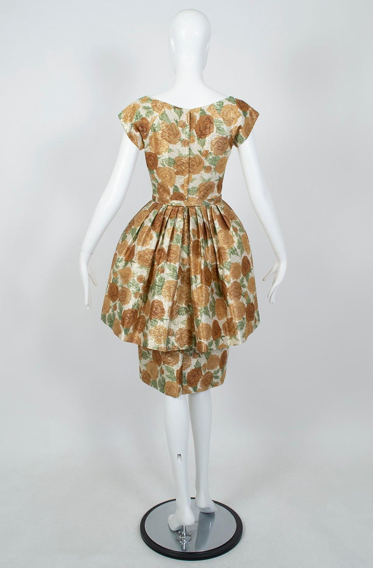 Brown New Look Gold Floral Lampshade Party Dress, 1950s For Sale