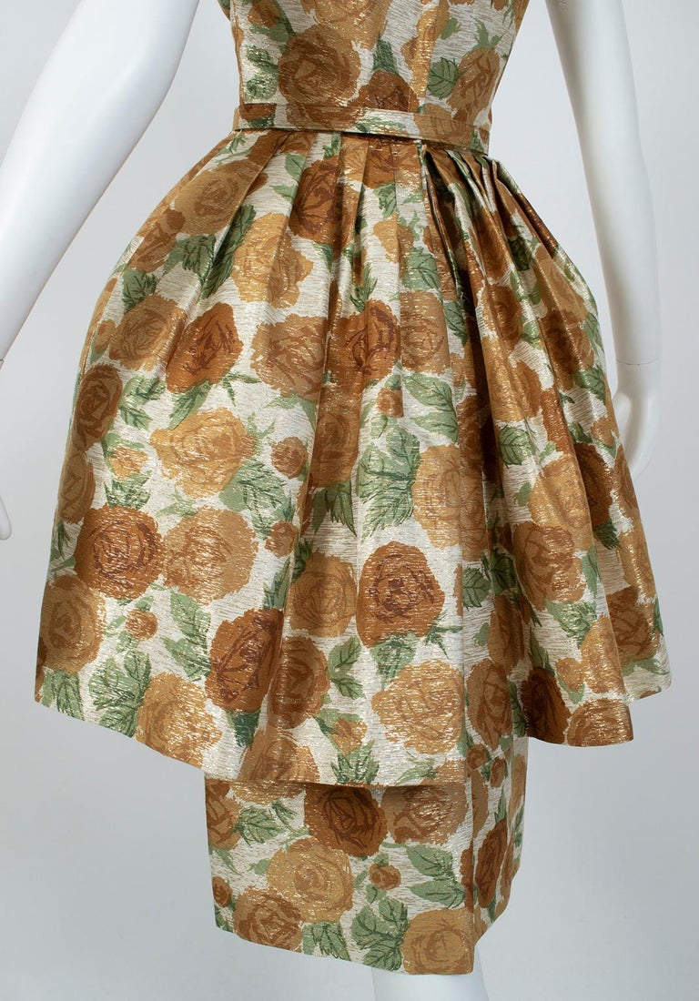 New Look Gold Floral Lampshade Party Dress, 1950s For Sale 5