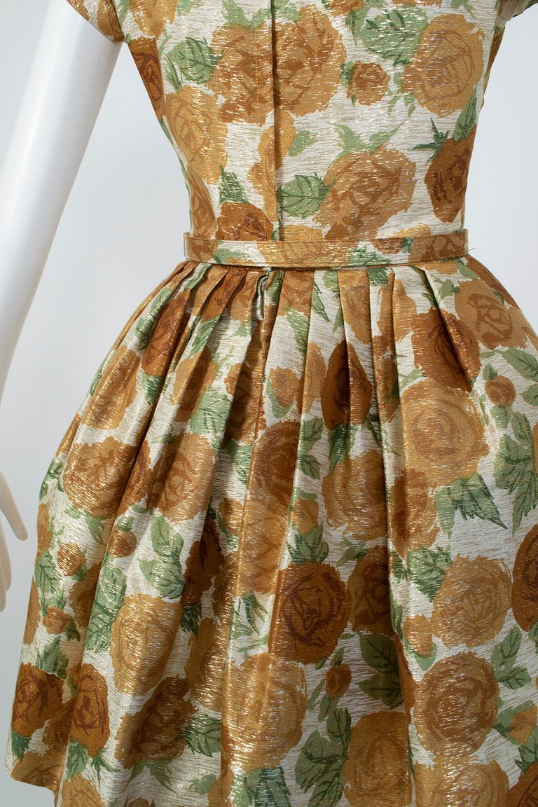 New Look Gold Floral Lampshade Party Dress, 1950s For Sale 7
