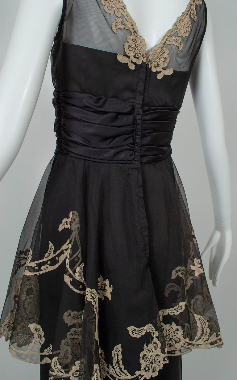 Black and Taupe Café Society Painted Lace Split Peplum Cummerbund Dress-S, 1950s For Sale 5