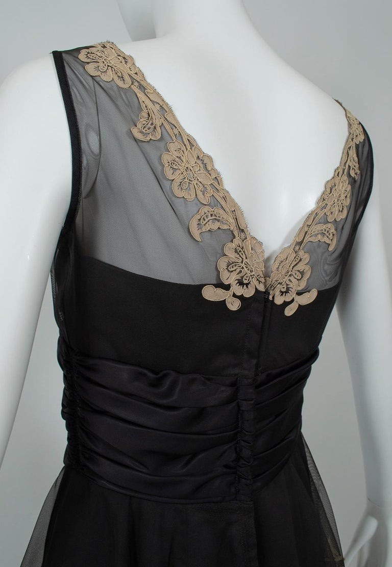 Black and Taupe Café Society Painted Lace Split Peplum Cummerbund Dress-S, 1950s For Sale 6