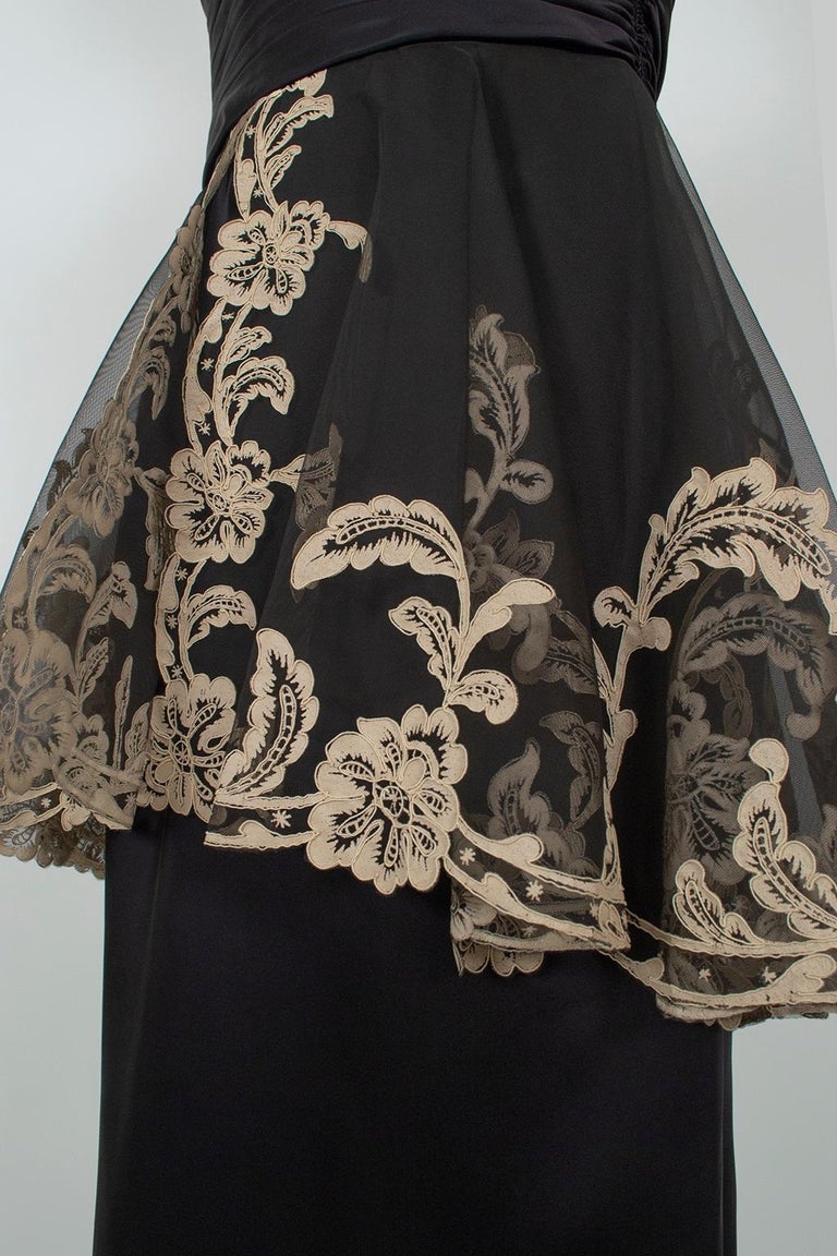 Black and Taupe Café Society Painted Lace Split Peplum Cummerbund Dress-S, 1950s For Sale 7