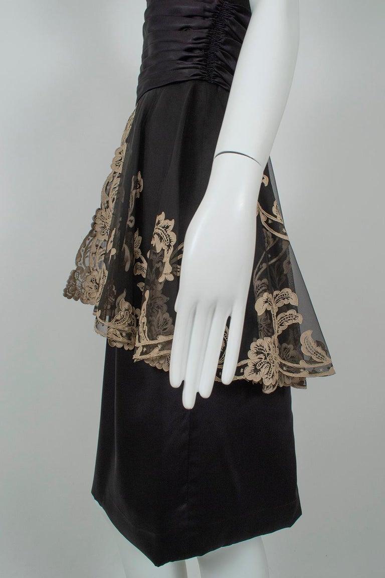 Painted Lace Split Peplum Cummerbund Dress, 1950s For Sale 2