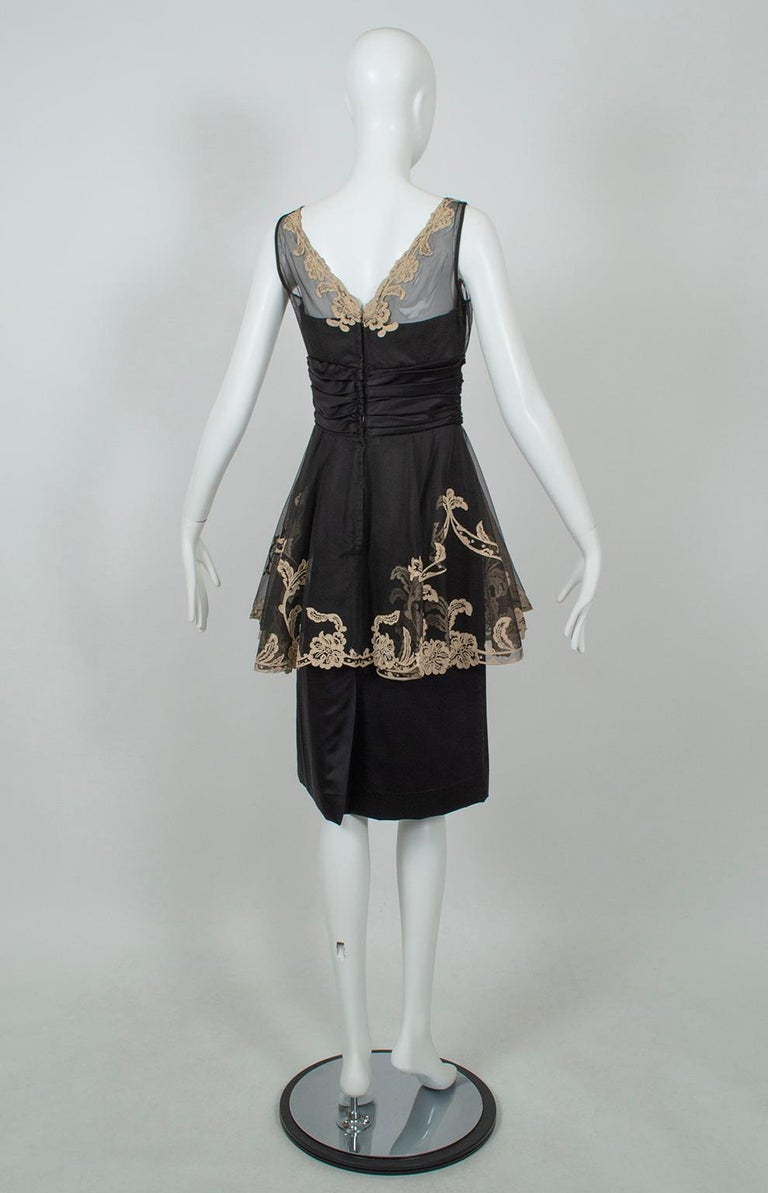 Women's Black and Taupe Café Society Painted Lace Split Peplum Cummerbund Dress-S, 1950s For Sale