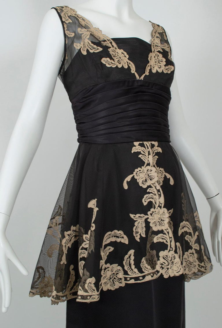 Black and Taupe Café Society Painted Lace Split Peplum Cummerbund Dress-S, 1950s For Sale 1