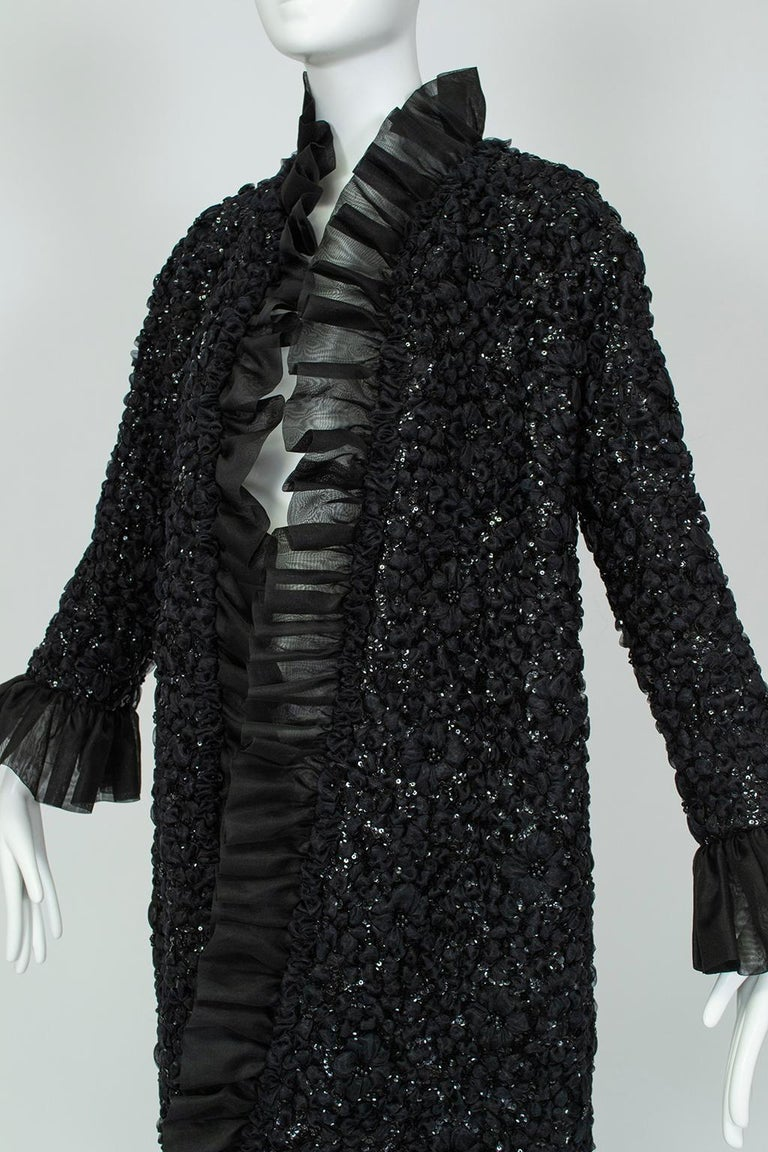 Women's Tufted Chiffon and Sequin Opera Coat with Bell Cuffs, 1960s For Sale