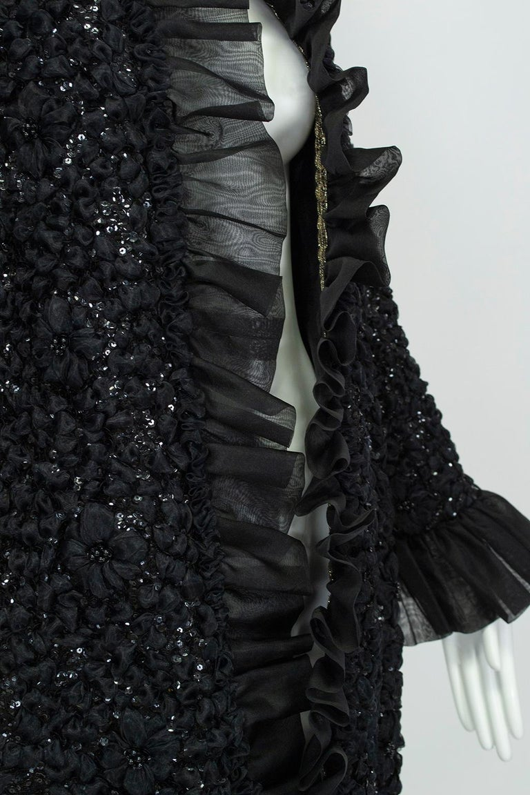 Tufted Chiffon and Sequin Opera Coat with Bell Cuffs, 1960s For Sale 1