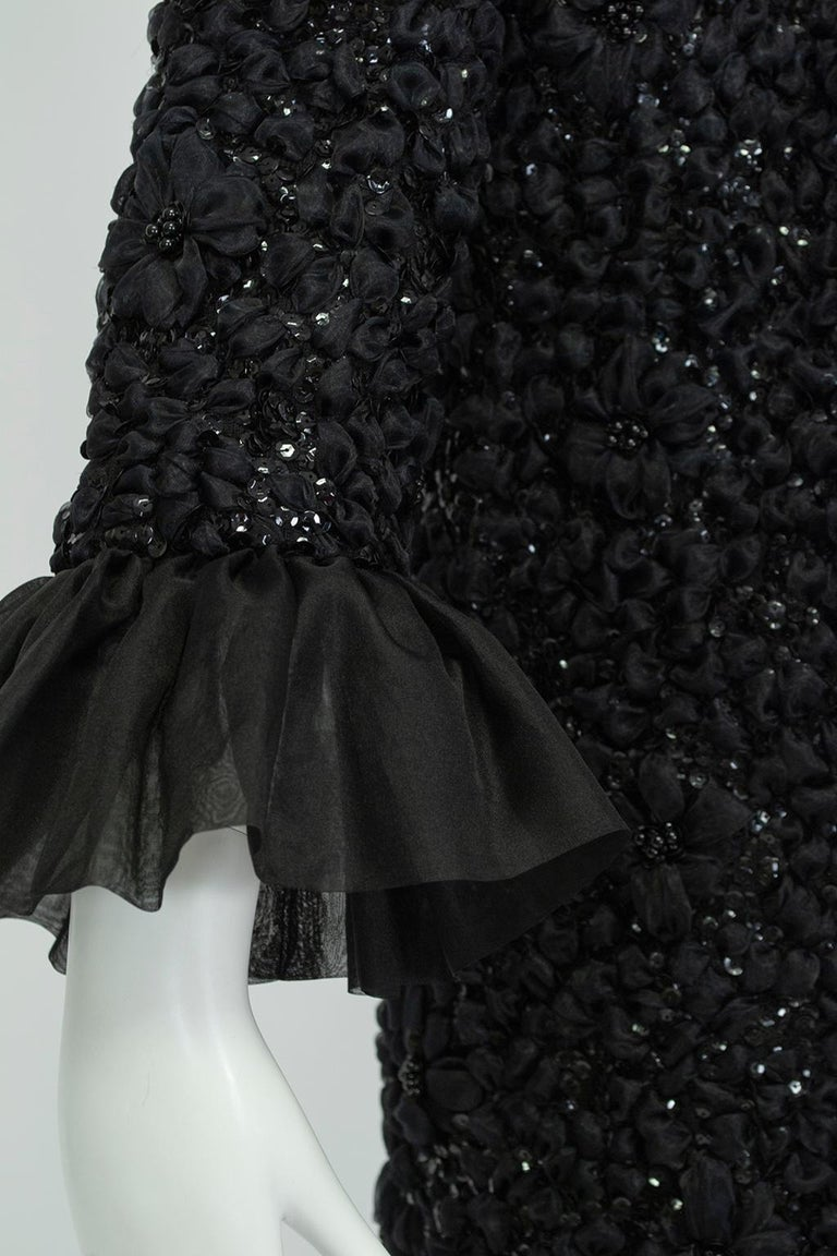 Tufted Chiffon and Sequin Opera Coat with Bell Cuffs, 1960s For Sale 2