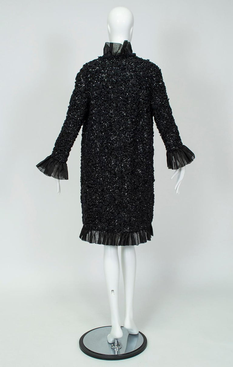 Tufted Chiffon and Sequin Opera Coat with Bell Cuffs, 1960s In Excellent Condition For Sale In Tucson, AZ