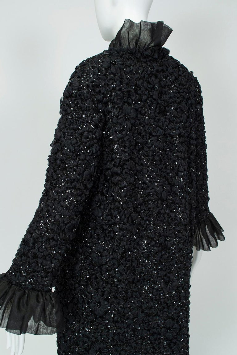 Tufted Chiffon and Sequin Opera Coat with Bell Cuffs, 1960s For Sale 3