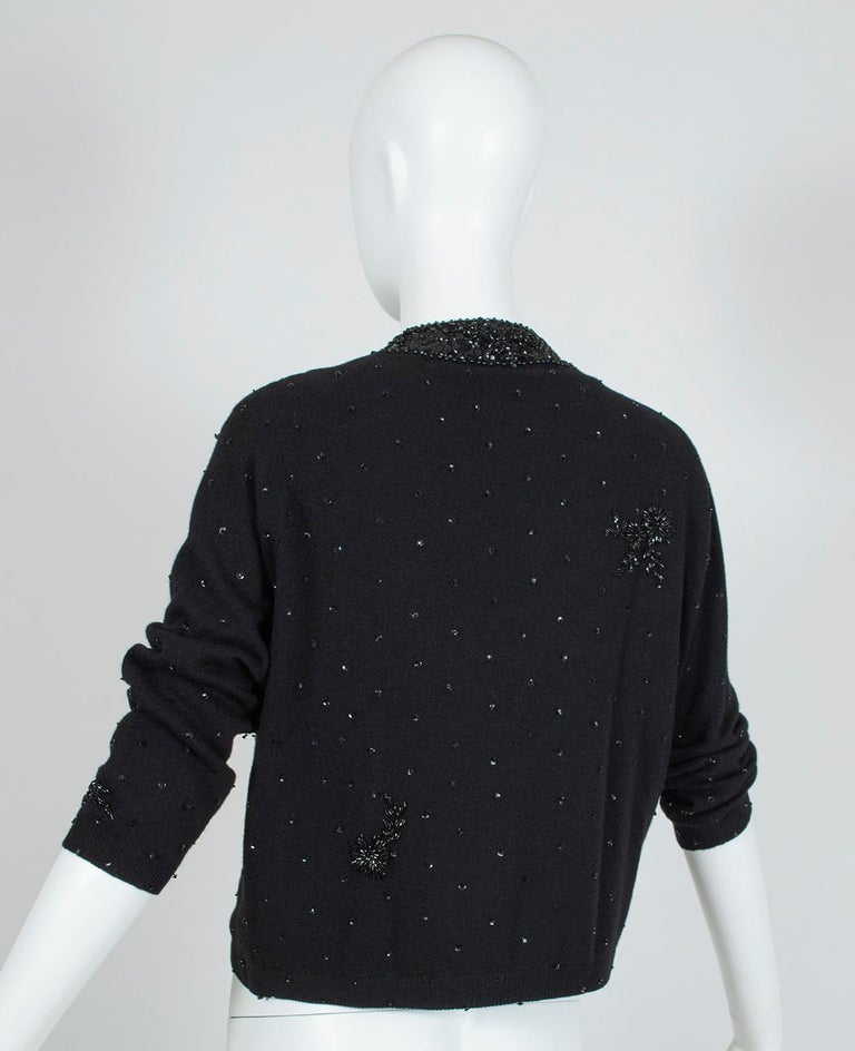 Black Bead and Sequin Sweater Girl Cardigan - Hong Kong, 1950s For Sale 1
