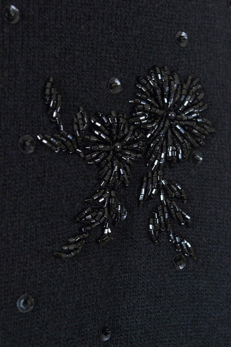 Black Bead and Sequin Sweater Girl Cardigan - Hong Kong, 1950s For Sale 9