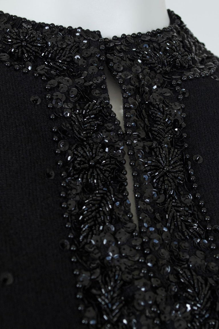 Black Bead and Sequin Sweater Girl Cardigan - Hong Kong, 1950s For Sale 5