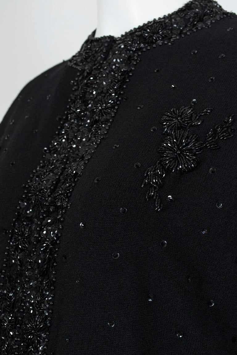 Black Bead and Sequin Sweater Girl Cardigan - Hong Kong, 1950s For Sale 2