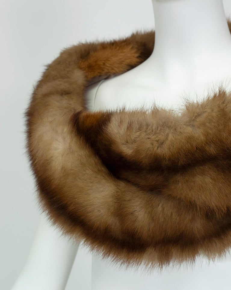 Women's Braided Cognac Ombré Fox Shoulder Cowl, 1950s For Sale