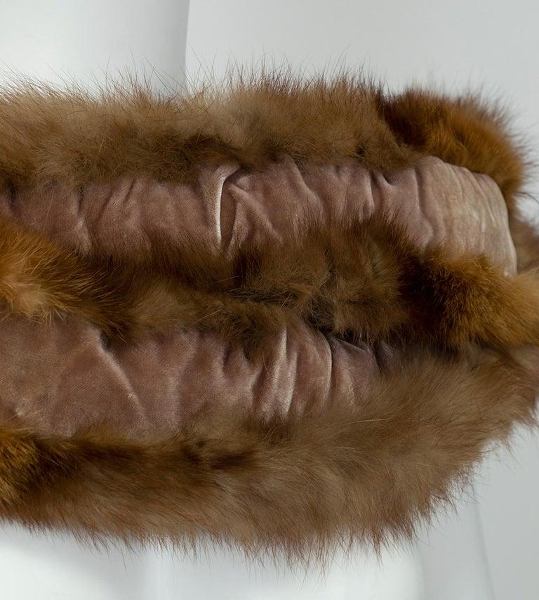 Braided Cognac Ombré Fox Shoulder Cowl, 1950s For Sale 2